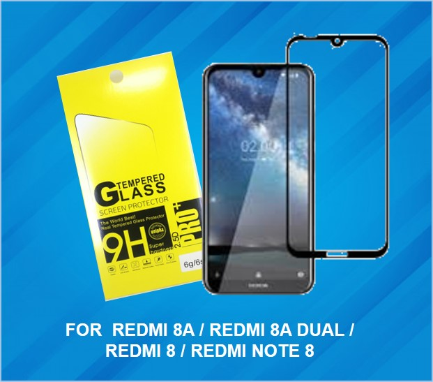 REDMI 8 & 8A MITBUL FULL GLUE TEMPERED GLASS